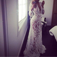 white lace long slips women hot intimates Low cut full slips