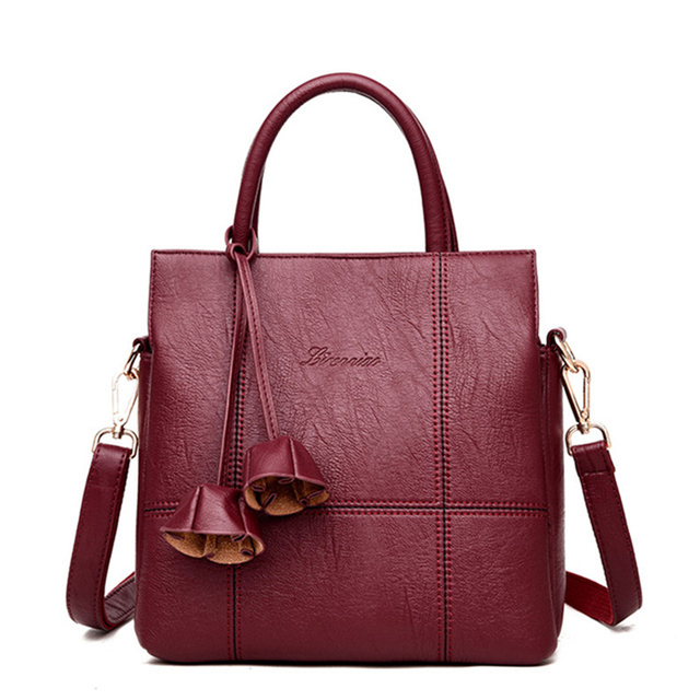 697f5c0415b US $23.19 48% OFF|NEW Flowers Leather Luxury Handbags Women Bags Designer  Women Shoulder Bag Female crossbody messenger bag Casual Tote sac a main-in  ...
