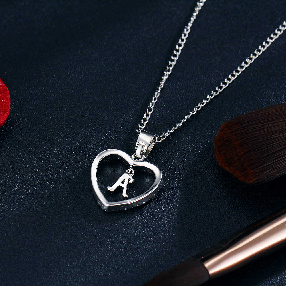Jeśli ja kocham kryształ w kształcie serca złoty kolor nazwa początkowa naszyjnik cyrkonia wisiorek dla kobiet elegancki list A Choker biżuteria prezenty
