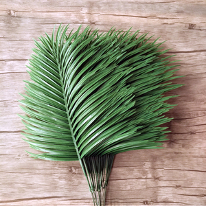 Image 2 - 20pcs Plastic Artificial Palm Tree Leaves Branch Green Plants Fake Tropical Leaf Home Wedding Decoration Flower Arrangement