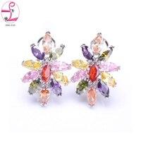 ZHE FAN Colorful Flower Earrings AAA Cubic Zirconia Cute Stud Earring Copper Queen Party Gift Korean