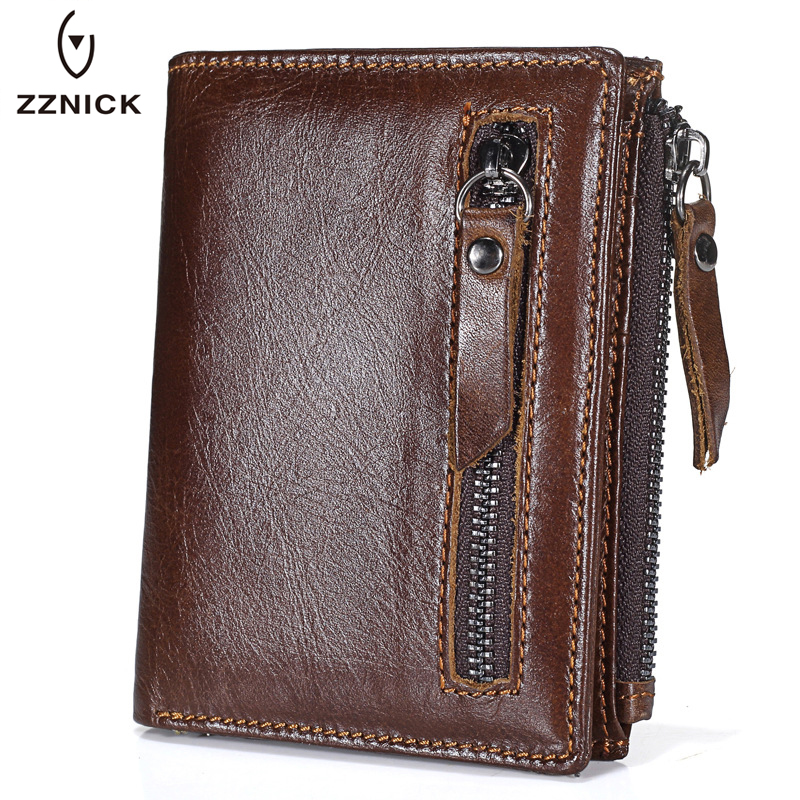 ZZNICK 2018 Brand Genuine Leather Men Wallets Cowhide Unisex RFID Anti Theft Scanning Short Wallet Fashion Men Zipper Coin Purse