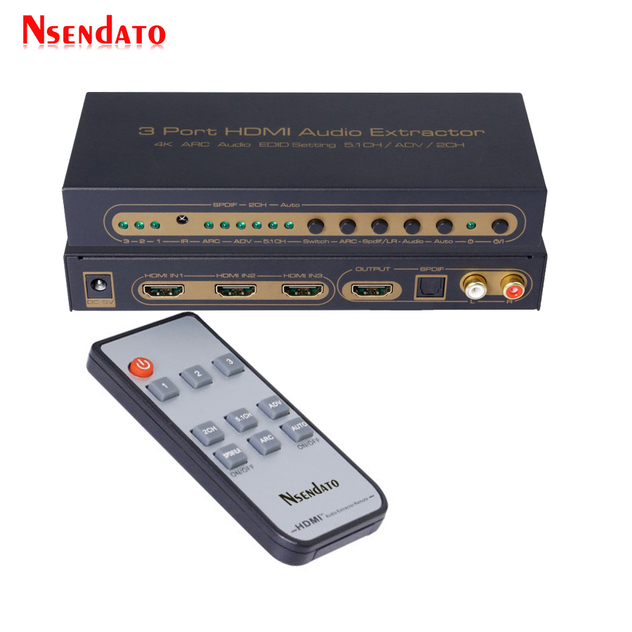 цена HDMI 1.4 3x1 Switch to RCA TOSLINK Optical SPDIF L/R 5.1 Audio Converter Support 4k 3D ARC 3 Ports HDMI Splitter Audio Extractor в интернет-магазинах
