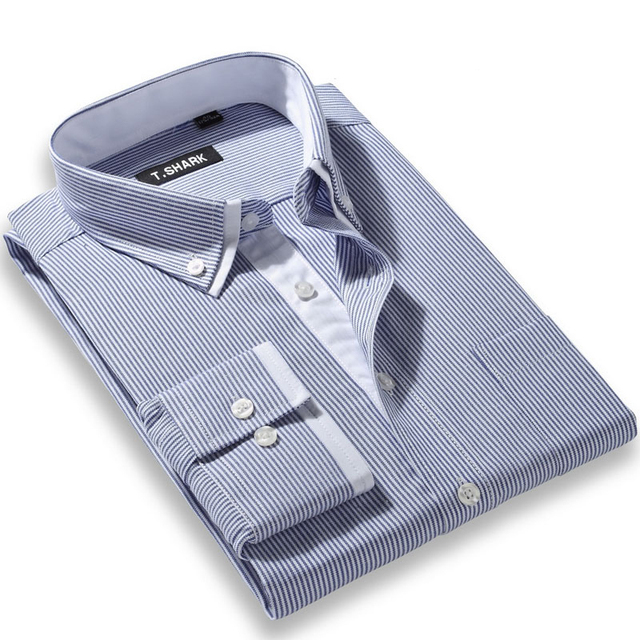 Doble cuello no hierro a rayas Hombre camisas moda negocio informal de manga larga Camisa Formal Camisa Hombre chemise homme masculina