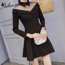 2018 Gauze Patchwork A-Line Dress High-end Women Black Turn-down Collar Long Sleeves Dress Casual Office Elegant Party Dresses long sleeved dress women 2019 spring summer new simple stripes turn down collar slim a line casual elegant dress midi s xl