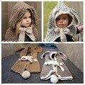 2016 Orelha de Coelho Do Bebê Hats & Caps Crianças Bomber Chapéus Xaile Xaile do Inverno do Beanie Crianças Chapéus Handmade Malha Acessórios Do Bebê