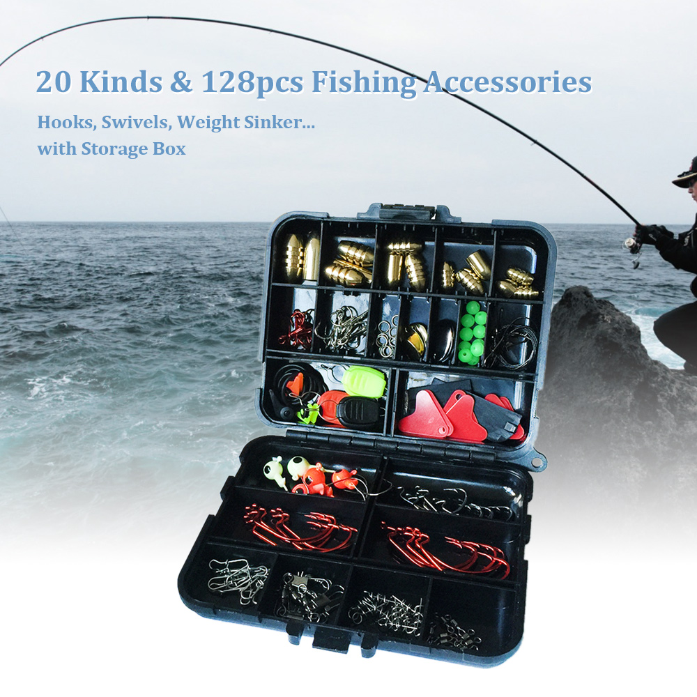 20Kinds 128pcs Fishing Accessories Hooks Swivels Weight Fishing Sinker Stoppers Connectors Sequins Lures Fishing Tackle Box