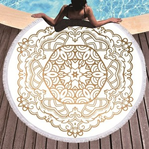 Image 1 - Mandala Gedruckt Strand Handtuch Goldene Mikrofaser Strand Handtuch Große Sommer Quaste Bad Handtuch Sport Reise Picknick Decke Yoga Toalla