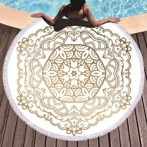 Image 1 - Mandala Printed Beach Towel Golden Microfiber Beach Towel Large Summer Tassel Bath Towel Sport Travel Picnic Blanket Yoga Toalla