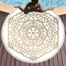 Mandala drukowane ręcznik plażowy złoty z mikrofibry ręcznik plażowy duży lato pomponem ręcznik kąpielowy Sport podróży piknik koc jogi Toalla