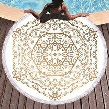 Mandala imprimé serviette de plage doré microfibre serviette de plage grand été gland serviette de bain Sport voyage pique nique couverture Yoga Toalla