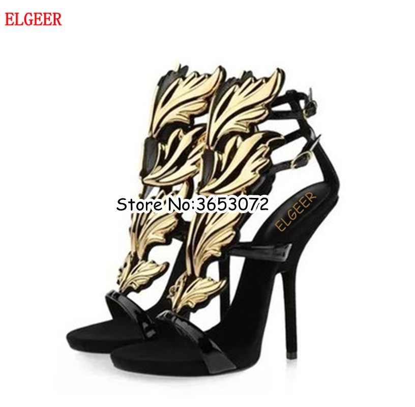 36cca84ab220 Original Quality Rome Designed Angel Wing Sandals gladiator Metallic Leaf  Leather high heels Shoes Stiletto Heels