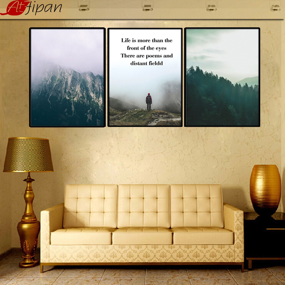 Atfipan kunst aan de muur schilderen houten ingelijst berg natuur - Huisdecoratie