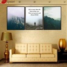 Atfipan Wall Umělecká malba Dřevěná rámovaná horská příroda Krajina Malba plátna Inspirativní citace Obrázek pro obývací pokoj Decor