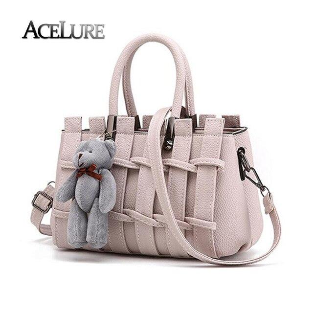 Женщины pu кожаные сумки женщины изящные плечо случайные сумки дамы посланник сумки мешок основной моде бежевый handtassen