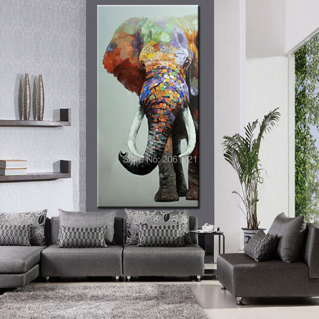 Hand Painted Large Big Elephant Wall Art Abstract Textured Vertical Animal  Oil Paintings For Corridor Hall