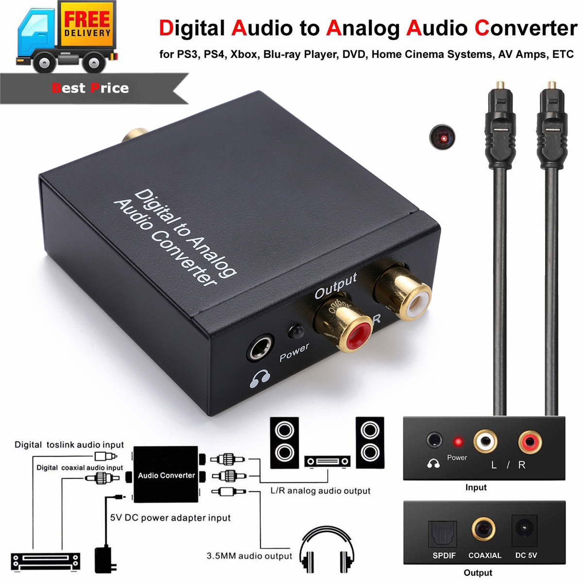 1m <font><b>Optical</b></font> Coaxial Toslink <font><b>Cable</b></font> Digital to Analog <font><b>Audio</b></font> Converter Adapter With AUX <font><b>3.5mm</b></font> <font><b>Jack</b></font> image
