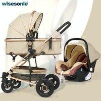 Wisesonle 3 и 1 Детские коляски высокого пейзаж коляски может сидеть и раза два способ шок Новорожденные корзину