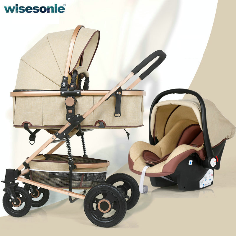 Wisesonle 3 and 1 Baby stroller high landscape strollers can sit and fold two-way shock newborn baby cart belecoo bei li ke high landscape baby cart trolley can sit and fold the double direction shock 3 in 1 baby stroller