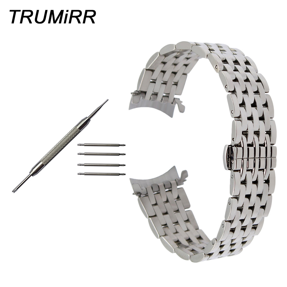 Curved End Stainless Steel Watch Band for Breitling Avenger Superocean Men Women Wrist Strap Bracelet Silver Gold 18mm 20mm 22mm top quality new stainless steel strap 18mm 13mm flat straight end metal bracelet watch band silver gold watchband for brand