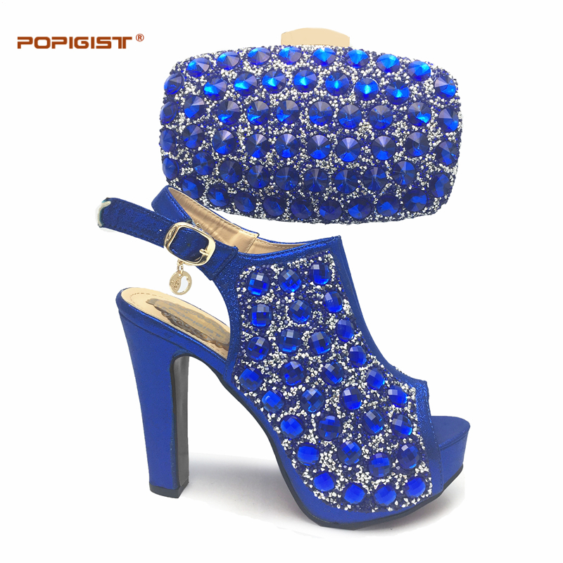 High Quality Leather Royal Blue With Rhinestones Italian Shoe with Matching  Bag Set African Shoe and 580e905fa886