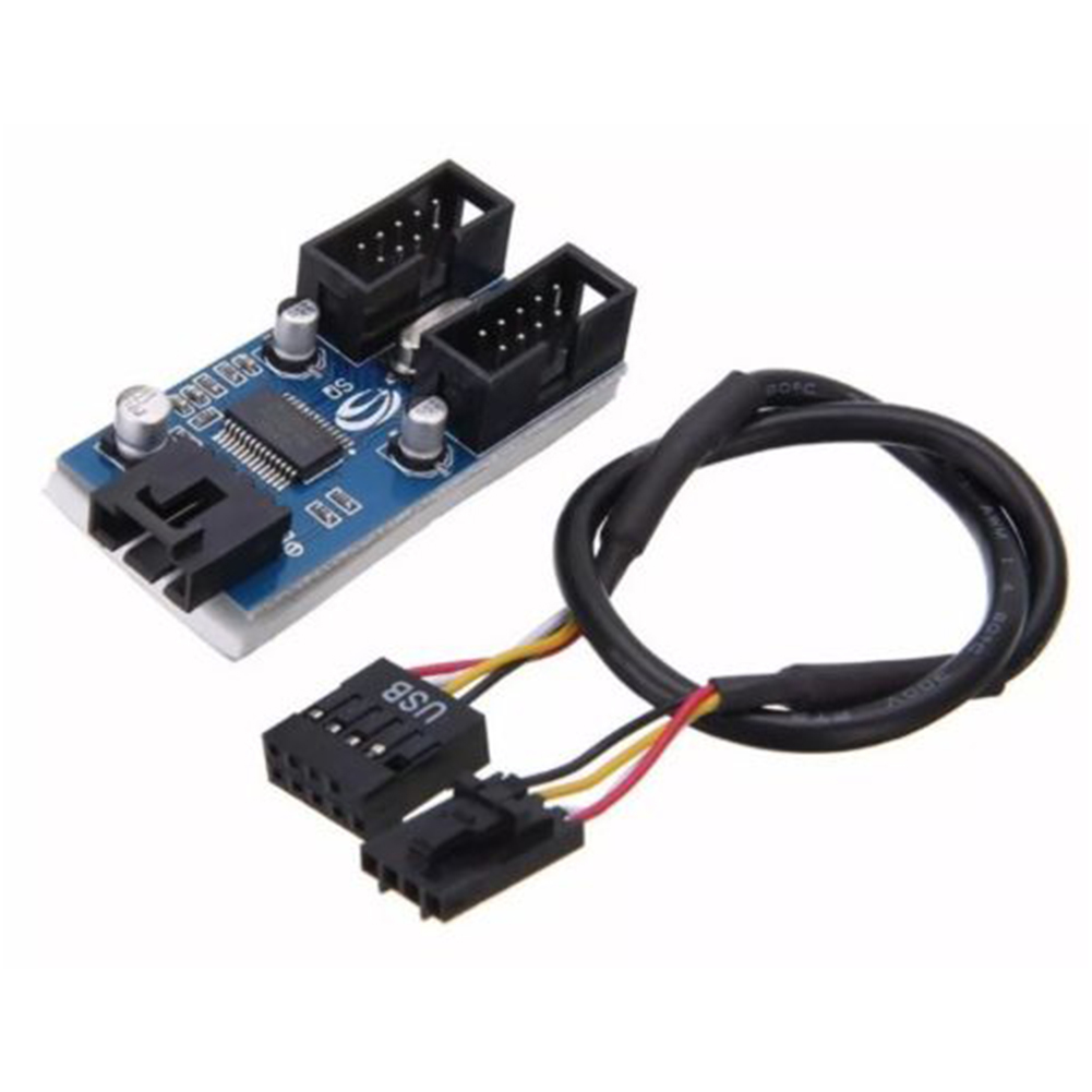 1Pcs Motherboard USB 9Pin Interface Header Splitter 1 To 2 Extension Cable Adapter 9-Pin USB HUB Connectors