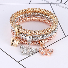 HOCOLE 3Pcs Fashion Crystal Metal Charm Bracelet Bangles For Women Gold Silver Color Heart Skull Pendant Rhinestone Bracelet2019