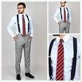 Новое поступление 100% хлопок синий полосатый с контрастной белой клуб воротник и манжеты кнопку полосатой рубашке мужчины