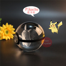 New Style Pokemon Ball With Pikachu Engraving Crystal Base Gift Box