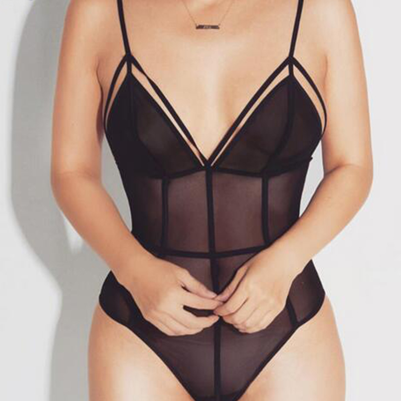 New 2018 Summer Rompers Womens Jumpsuit Sexy Spaghetti Strap V Neck See Through Bodysuits Fashion Solid Skinny Playsuit