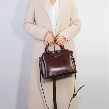Burminsa Vintage Shell Women Genuine Leather Handbags Metal Handle Female Tote Bags Ladies Shoulder Messenger Bags Autumn 2019