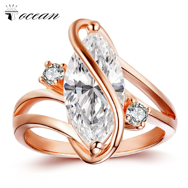 Tocean Rose Gold Color Fashion Flower Wedding Rings for Women Oval Cute Cubic AAA Zircon Engagement Bijoux Bague Size 5-12 W102