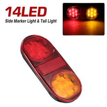 14 LED 1PCS 12V Car Truck Bus Trailer Side Marker Indicators Lights Brake Signal Lamp For Trailer Truck Boat ATV Bike D45 2017 high quality 4pcs 6 led car truck trailer side marker indicators lights lamp 12v yellow