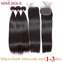 Miss Rola Hair Straight Peruvian Hair Bundles with Closure 100% Human Hair Natural Color Remy Hair 3 Bundles with 4*4 Closure