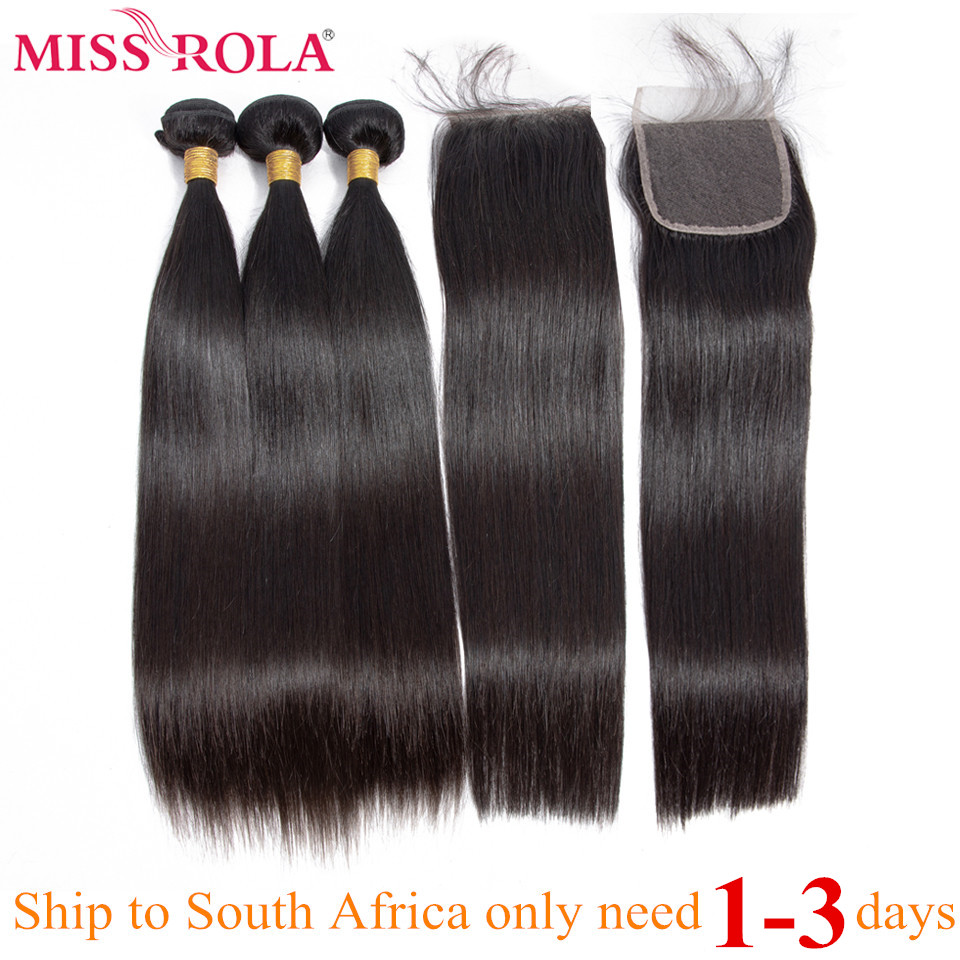Miss Rola Hair Straight Peruvian Hair Bundles With Closure 100% Human Hair Natural Color Remy Hair 3 Bundles With 4*4 Closure
