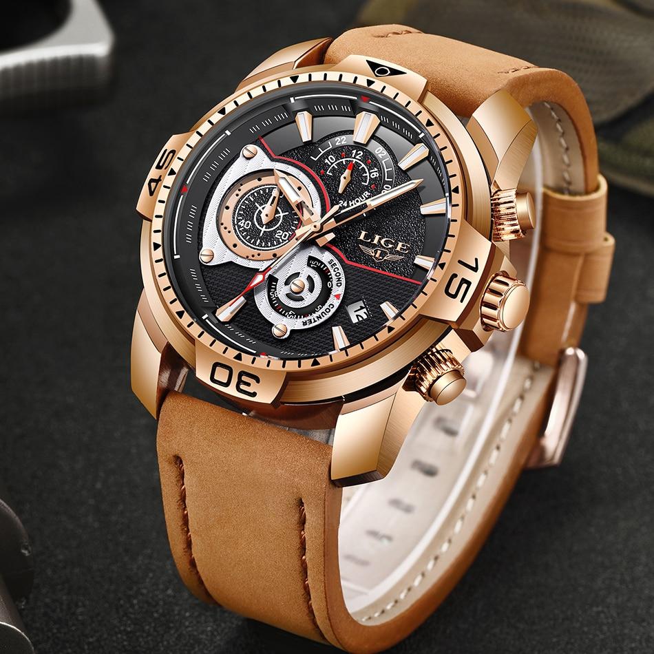 HTB1XY8sXJjvK1RjSspiq6AEqXXa1 LIGE Mens Watches Top Brand Luxury Casual Leather Quartz Clock Male Sport Waterproof Watch Gold Watch Men Relogio Masculino