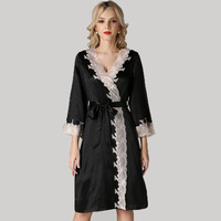 Genuine Silk Sleeping Robes Female Sexy 100% Silkworm Silk Sleepwear Women Sweet Lace Bathrobe Kimono S5503