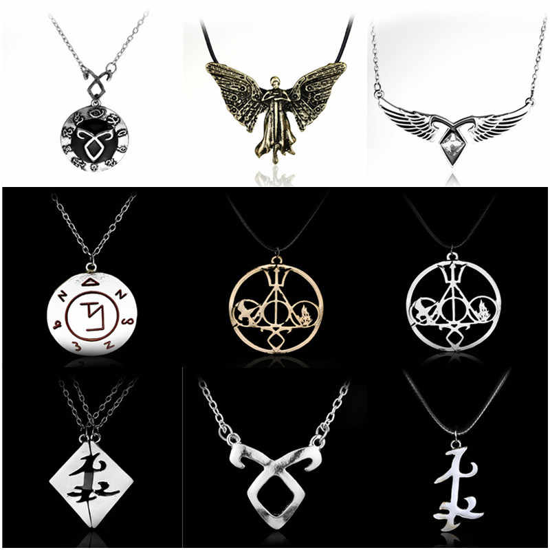 The Mortal Instruments City of Bones necklace vintage Angelic Power Runes Shadowhunters pendant men and women Gift -30