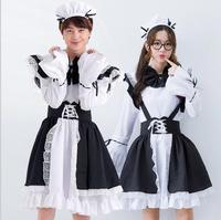 2017 New Novetly Women/Men Costumes Dress Bowknot French Maid Costumes/Princess Women Clothing Cosplay Dress Men playing costume