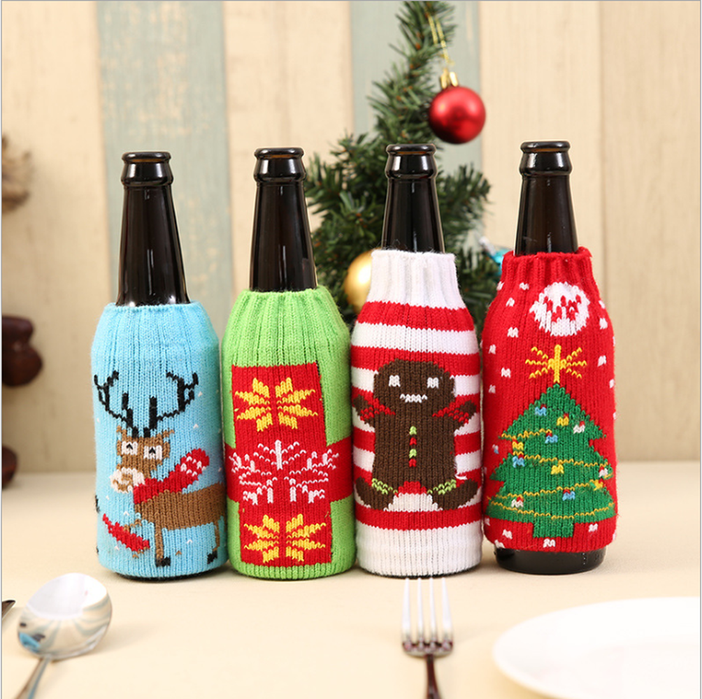 1PC Home Dinner Party Table Decors Wine Cover Christmas