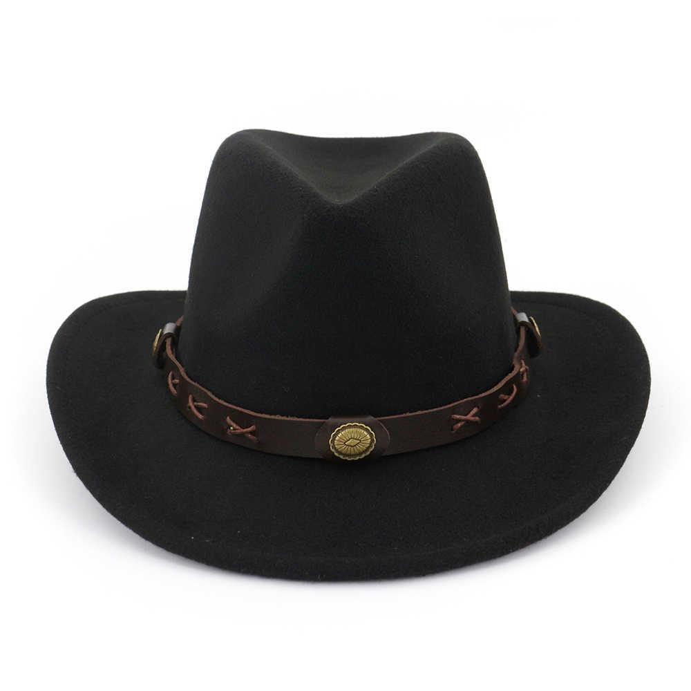 FS ผ้าฝ้าย Felt หมวก Fedora สำหรับผู้ชายผู้หญิง Elegant Vintage Western คาวบอยหมวกหมวกที่มีเข็มขัดสไตล์ฤดูใบไม้ร่วงฤดูหนาว