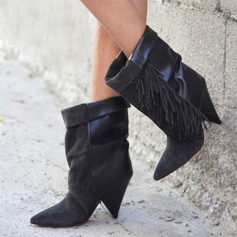 Negro Punta Mujeres As Damas as Zapatos Show Show Toe Talón Feminino Bombas Ángulo Nuevas Corto Sapato Botas Pista Nieve De Moda wT0Xfxn
