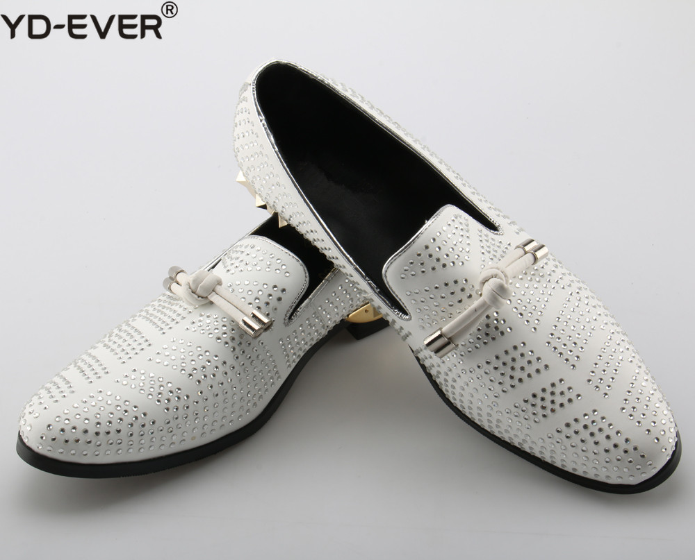 6d52e0b3c66bf Genuine Leather Designer Men Suede Dress Shoes White Wedding Shoe Party  Crystals Men Loafers Knot Smoking Slipper Male Flats
