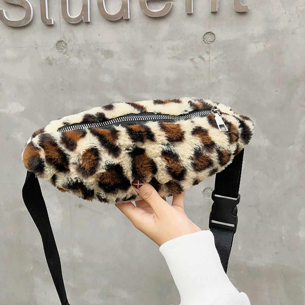 Riñonera de terciopelo para mujer, con cremallera, bolso para el pecho, bolso para el vientre para mujer, bolso para cintura de leopardo