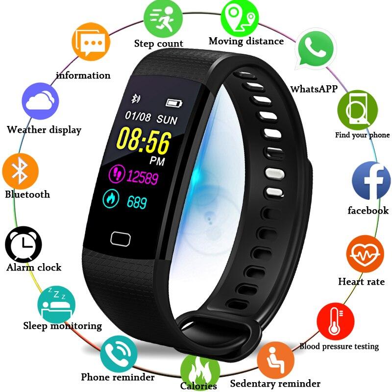 BANGWEI Smart Uhr Männer Armbanduhr Sport Uhr Fitness tracker Pedometer Herz Rate Blutdruck Monitor LED Smart Uhr + Box