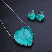 Trendy Women Jewelry Green Fusion Stone Heart Jewelry Set Love Heart Pendant Necklace&Stud Earrings For Women Fashion Jewelry