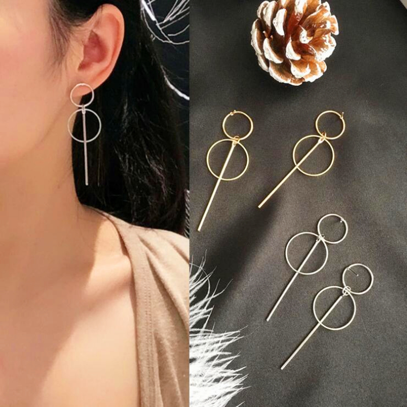 Fashion Metal Geometric Earrings Punk Simple Gold Color Long Tassel Pendant Size Circle Earrings For Women Hollow Drop Earrings