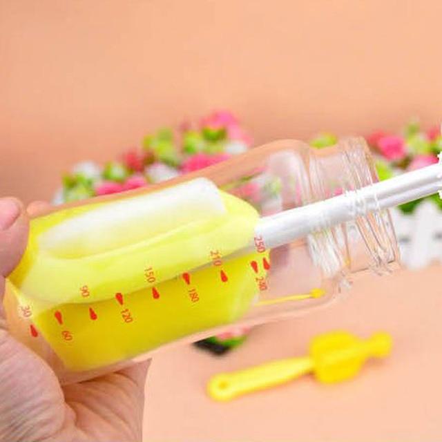 5Pcs Baby Milk Feeding Bottle Brush Handly Portable Nylon and Sponge Tube Cleaner 1
