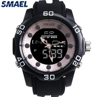 SMAEL מזדמן אופנה גברים שעון מותג רוז זהב סגנון כפולה תצוגת שעון זמן חמה שעון ספורט סיליקון גברים צלילה עמיד למים 1112