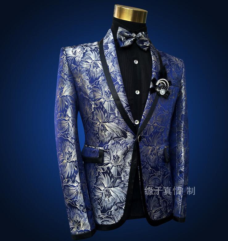 Блейзер мужские костюмы комплект со штанами мужские свадебные костюмы костюм певица звезда Стиль Танцевальная сцена Одежда Модный узор то... - 3